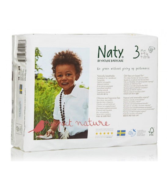 Pañales Medio talla 3, 4-9 kg 52 ud Naty