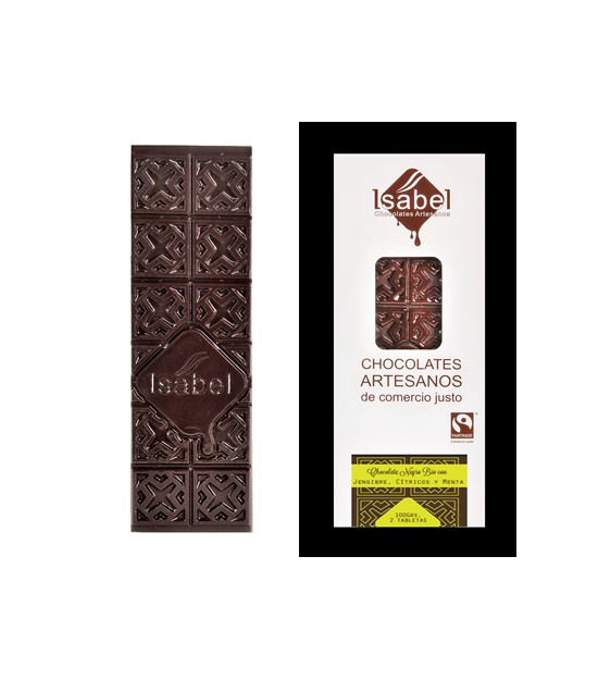 Chocolate NEGRO JENGIBRE y CÍTRICOS 80 g. Isabel